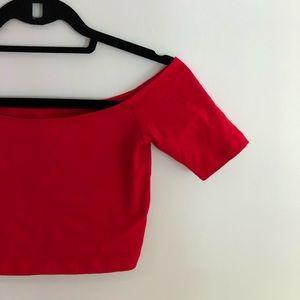 American Apparel Tops - American Apparel Red Off The Shoulder Crop